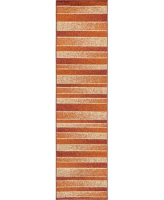 "Jasia Jas12 Rust Red 2' 6"" x 10' Runner Area Rug"
