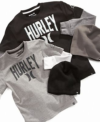 Hurley Kids T-Shirt, Boys Layered Logo Tee with Beanie