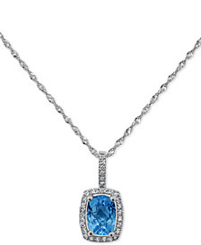 """Peridot (3/4 ct. t.w.) & Diamond (1/10 ct. t.w.) 18"""" Pendant Necklace in 14k White Gold (Also Available in Garnet and Blue Topaz)"""