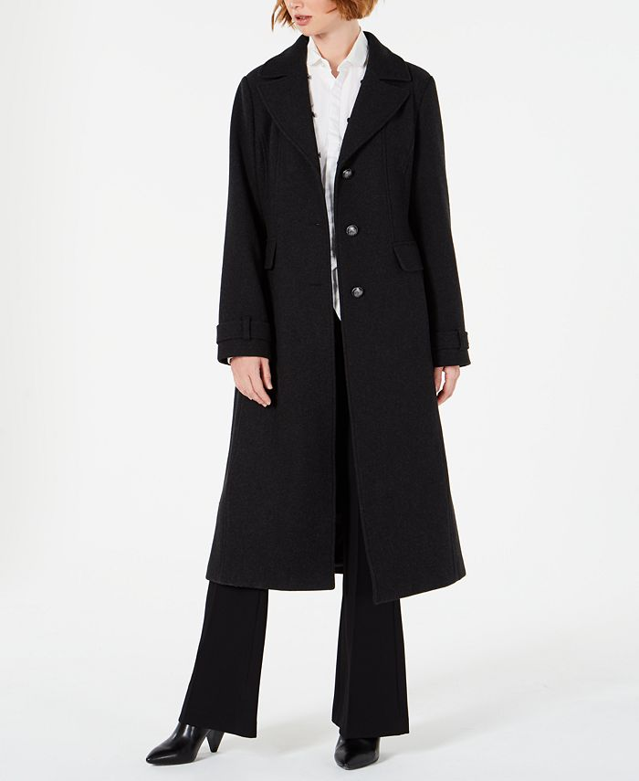 Vince Camuto - Single-Breasted Coat with Faux-Fur-Collar