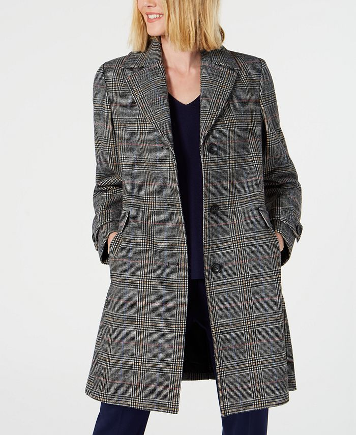 Vince Camuto - Single-Breasted Plaid Coat