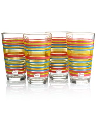 Fiesta Set of 4 Flamingo Stripe Highball Glasses