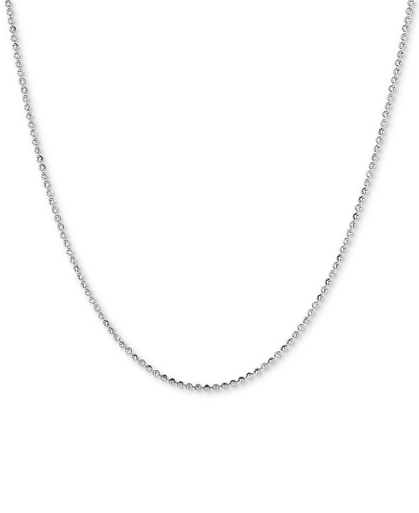 """Italian Gold Moon Link 18"""" Chain Necklace in 14k White Gold"""