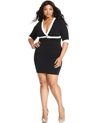 Baby Phat Plus Size Dress Three Quarter Sleeve