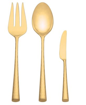 Marchesa by Lenox Flatware 18/10, Imperial Caviar Gold 3 Piece Serving Set