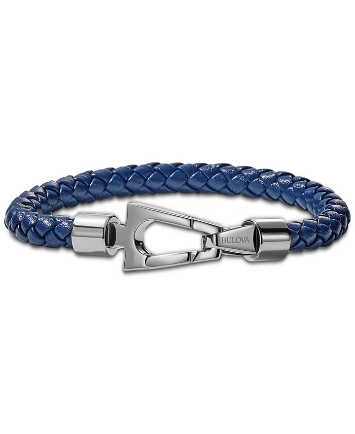 Bulova - Men's Blue Braided Leather Bracelet in Stainless Steel
