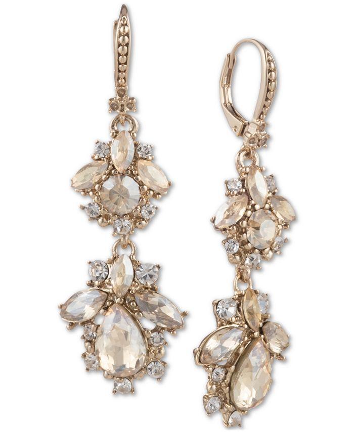 Marchesa - Crystal Cluster Double Drop Earrings