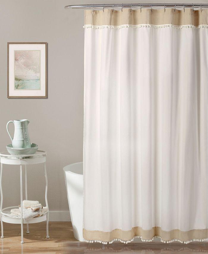 """Lush Décor - Adelyn Pom Pom 72"""" x 72"""" Shower Curtain"""