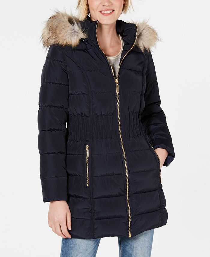 Laundry by Shelli Segal - Faux-Fur-Trim Puffer Coat