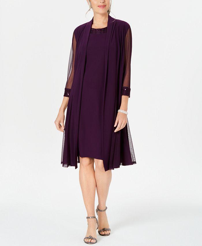 R & M Richards - Embellished Dress & Duster Jacket