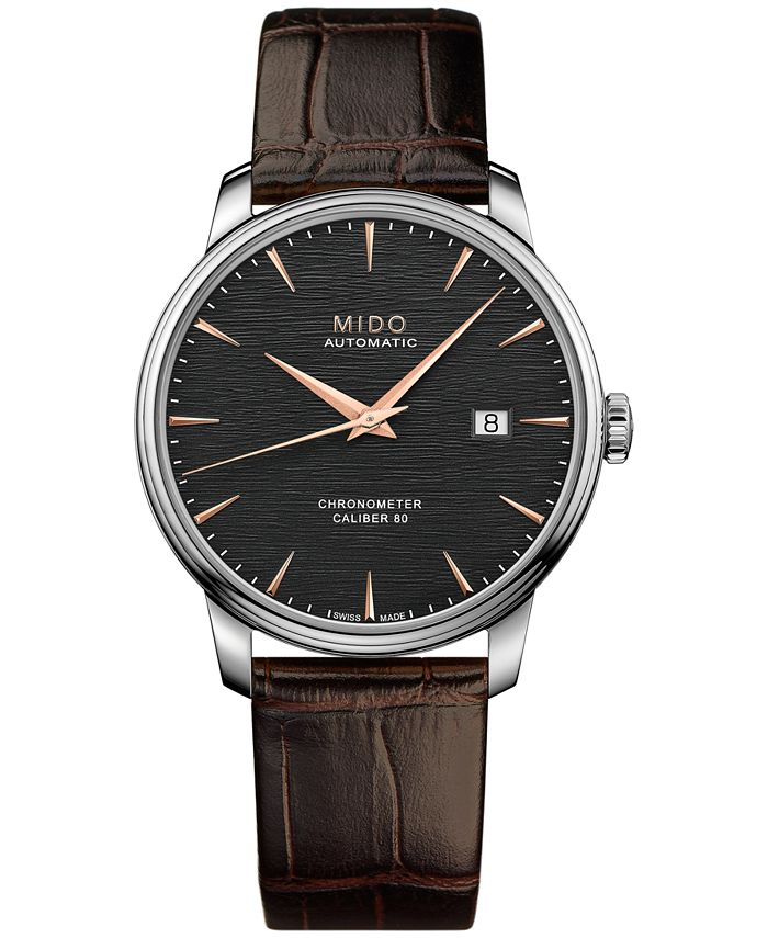 Mido - Men's Swiss Automatic Baroncelli Brown Leather Strap Watch 40mm