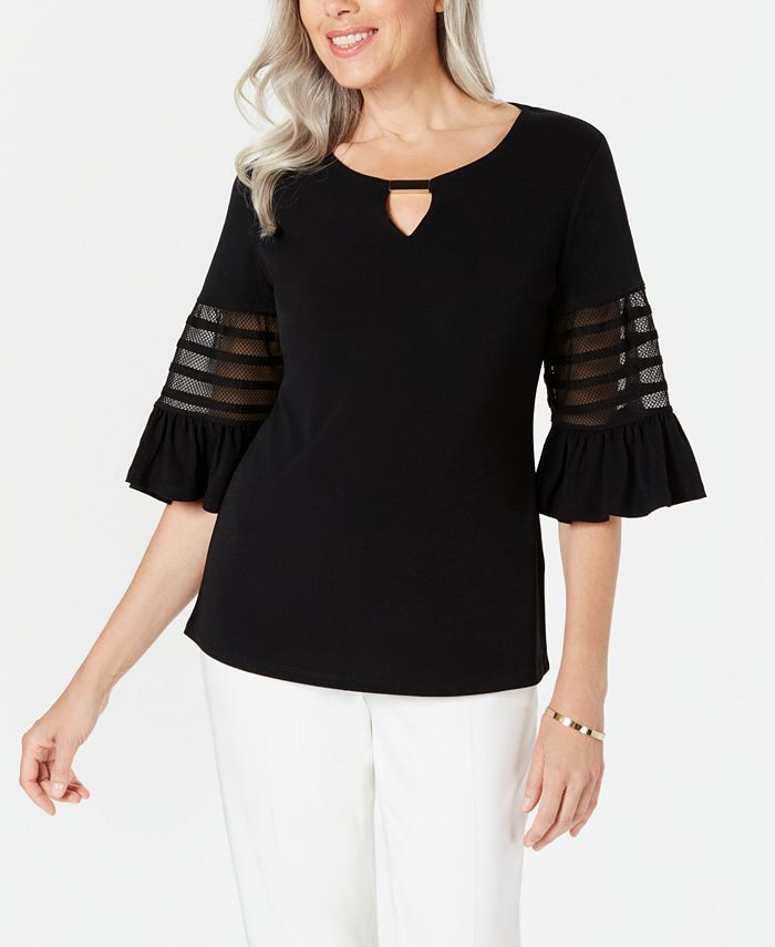 JM Collection - Petite Illusion-Sleeve Keyhole Top, Created for Macy's