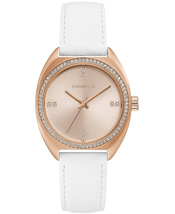 Caravelle - Women's Crystal White Leather Strap Watch 32mm