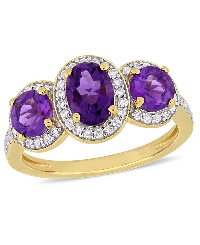 Macy's - Amethyst (1-5/8 ct.t.w.) and Diamond (1/3 ct.t.w.) 3-Stone Halo Ring in 18k Yellow Gold over Sterling Silver