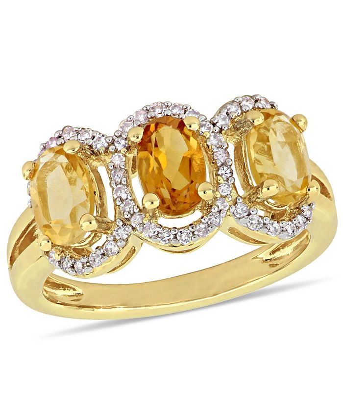 Macy's - Citrine (1-1/3 ct.t.w.) and Diamond (1/5 ct.t.w.) 3-Stone Halo Ring in 18k Yellow Gold over Sterling Silver