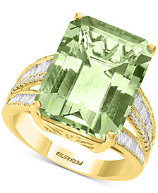 EFFY® Green Quartz (11-3/4 ct. t.w.) & Diamond (3/8 ct. t.w.) in 14k Yellow Gold (Also Available in Pink Amethyst, Citrine, and Blue Topaz)