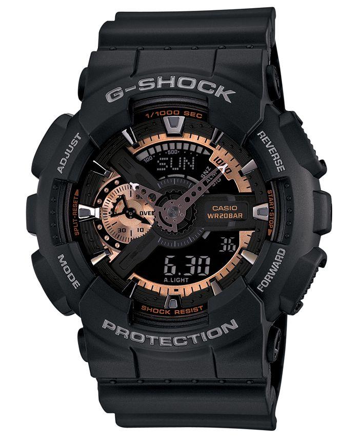 G-Shock - Men's Analog Digital Black Resin Strap Watch 51x55mm GA110RG-1A