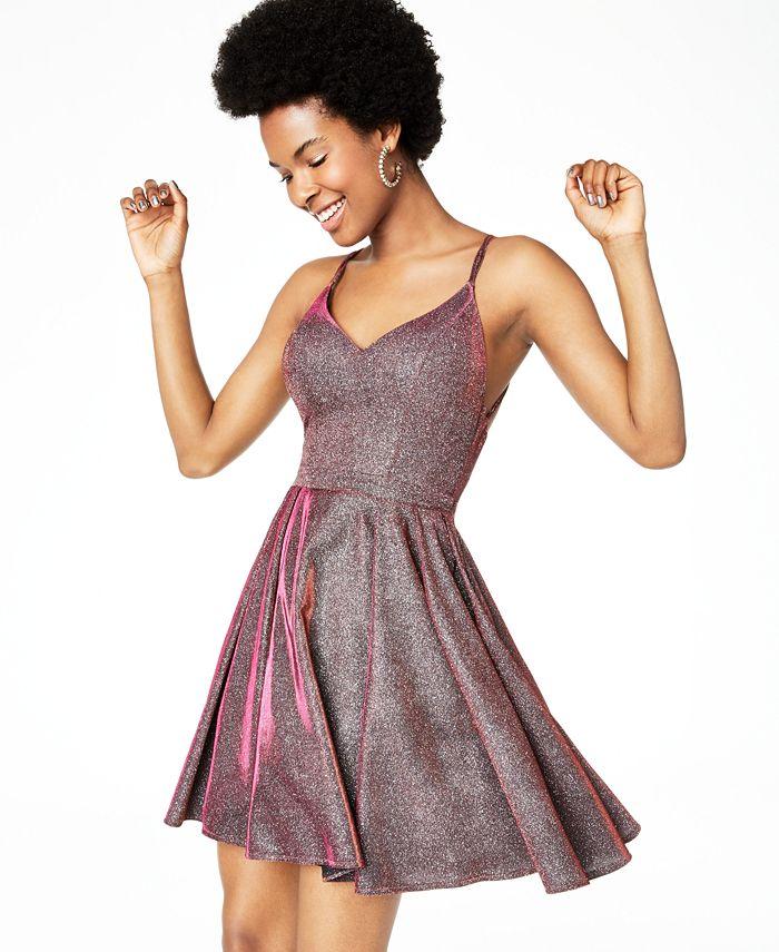 Sequin Hearts - Juniors' Glitter Fit & Flare Dress