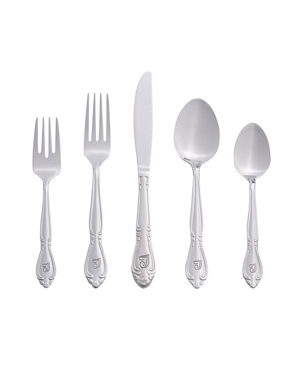 RiverRidge Home Riverridge Rose 46 Piece Monogrammed Flatware Set -T, Service for 8