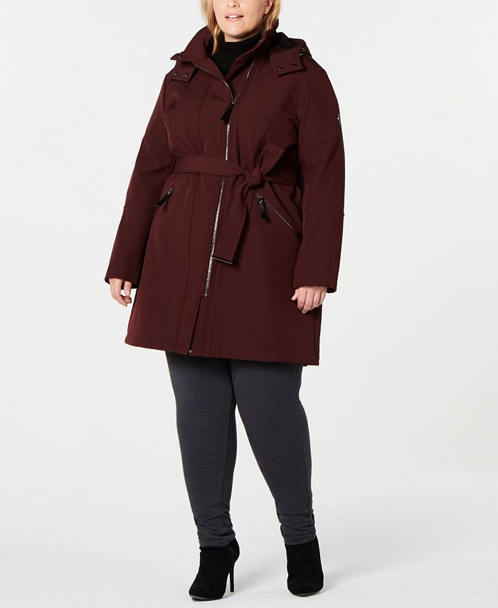 Calvin Klein - Plus Size Belted Hooded Raincoat