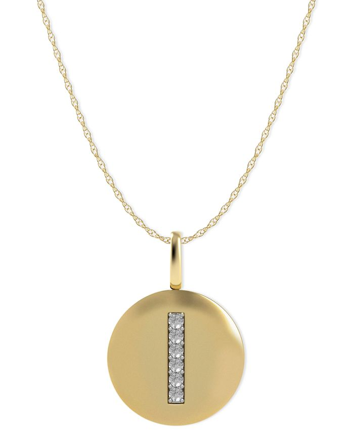 Macy's - 14k Gold Necklace, Diamond Accent Letter I Disk Pendant