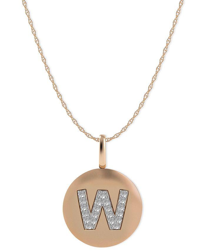 Macy's - 14k Rose Gold Necklace, Diamond Accent Letter W Disk Pendant