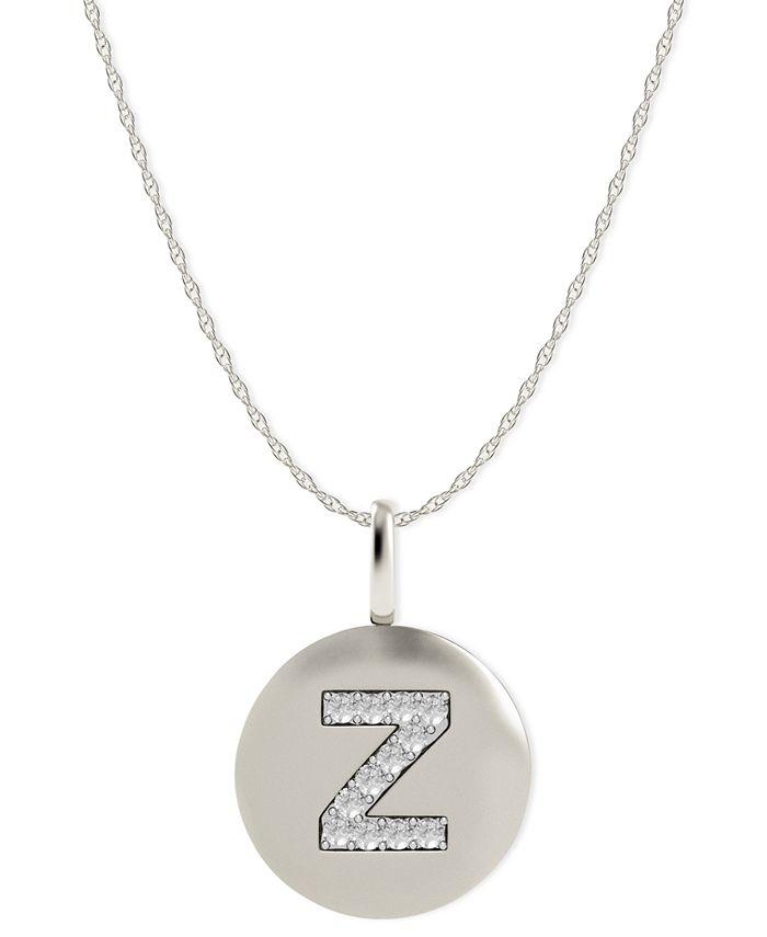 Macy's - 14k White Gold Necklace, Diamond Accent Letter Z Disk Pendant