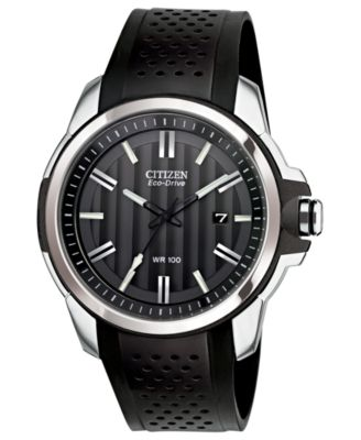 Citizen Mens Drive from Citizen Eco-Drive Black Rubber Strap Watch 45mm AW1150-07E