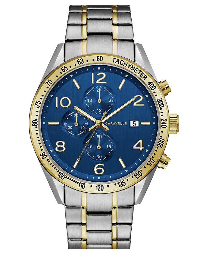 Caravelle - Men's Chronograph Two-Tone Stainless Steel Bracelet Watch 44mm