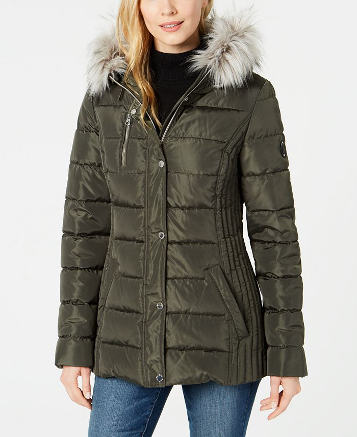 Nautica - Hooded Faux-Fur-Trim Puffer Coat