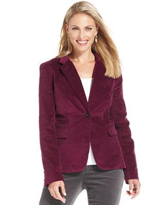 Charter Club Jacket Long Sleeve Velvet Blazer Swimwear