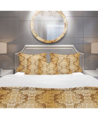 Designart 'Damask Pattern' Mid-Century Modern Duvet Cover Set - Queen