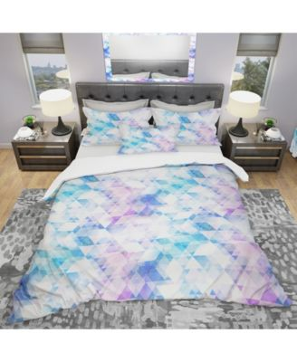 Designart 'Sky Blue Triangle Texture With Grunge Effect' Modern and Contemporary Duvet Cover Set - King