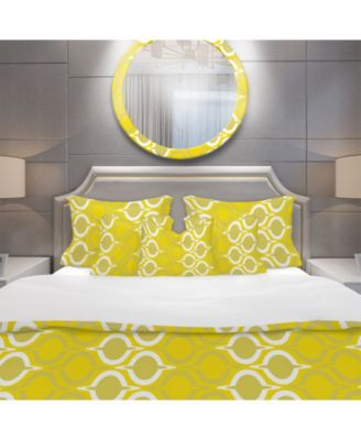 Designart 'Yellow Pattern' Modern Duvet Cover Set - Twin