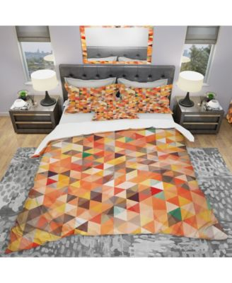 Designart 'Abstract Triangle' Modern Duvet Cover Set - King