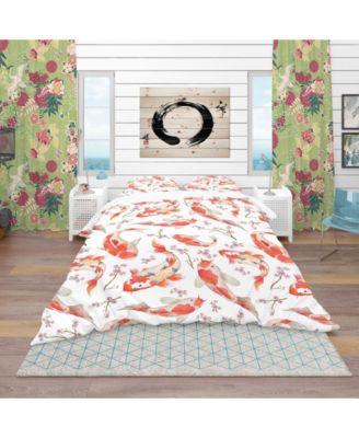 Designart 'Chinese Pattern With Rainbow Carps' Oriental Duvet Cover Set - Queen