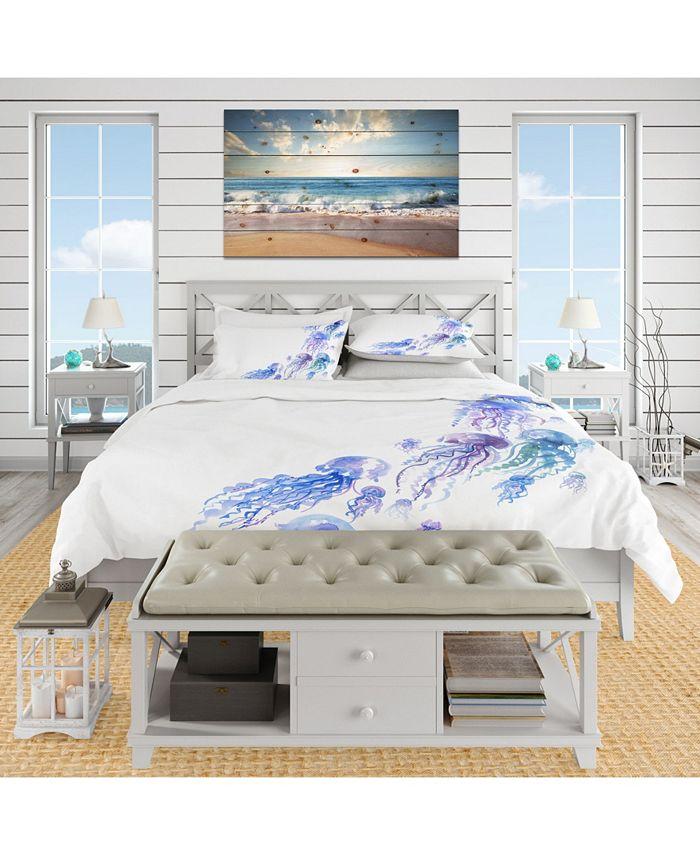 Design Art Designart Moving Jellyfish Group Nautical And Coastal Duvet Cover Set Reviews Duvet Covers Bed Bath Macy S