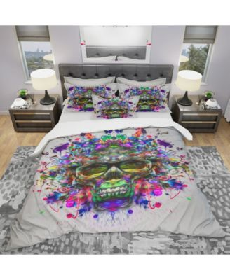 Designart 'Skull With Glasses And Paint Splashes' Modern and Contemporary Duvet Cover Set - Queen