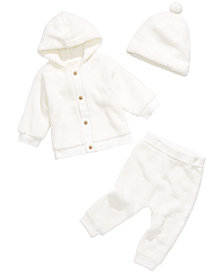First Impressions Baby Boys & Girls Fuzzy Fleece Hoodie, Jogger Pants & Hat, Created for Macy's