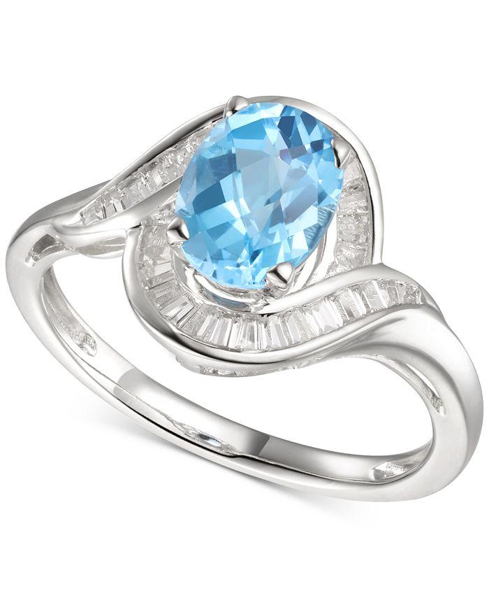 Macy's - Blue Topaz (1-3/8 ct. t.w.) & Diamond (1/4 ct. t.w.) Swirl Ring in 14k White Gold