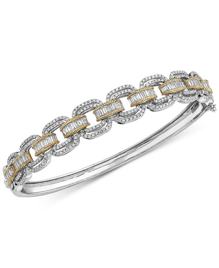 EFFY Collection - Diamond Link Design Bangle Bracelet (2 ct. t.w.) in 14k White Gold and 14k Yellow Gold