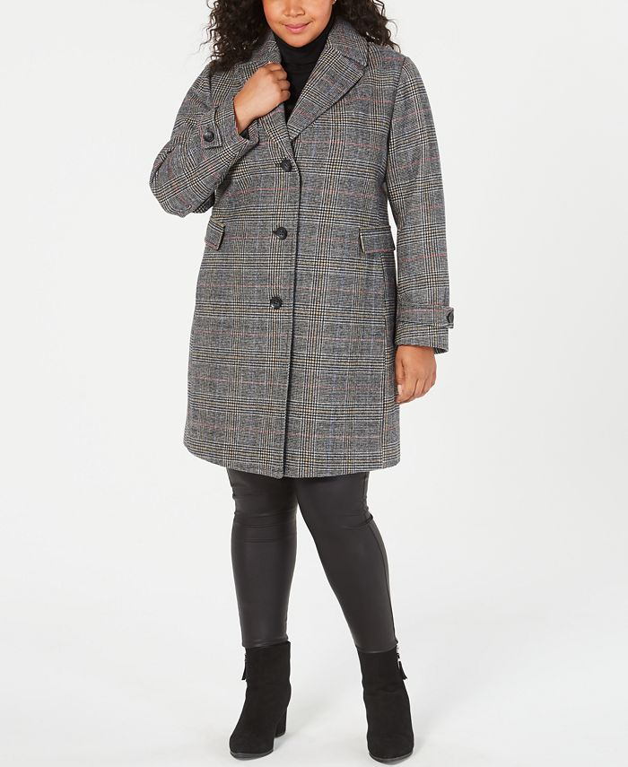 Vince Camuto - Plus Size Single-Breasted Plaid Coat