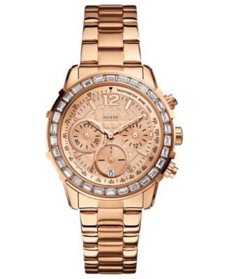 guess s chronograph gold tone stainless