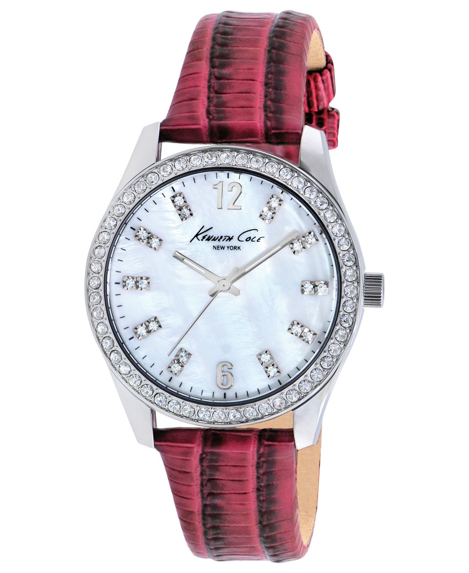 Kenneth Cole New York Watch, Womens Dark Pink Leather Strap 39mm KC2768   Watches   Jewelry & Watches