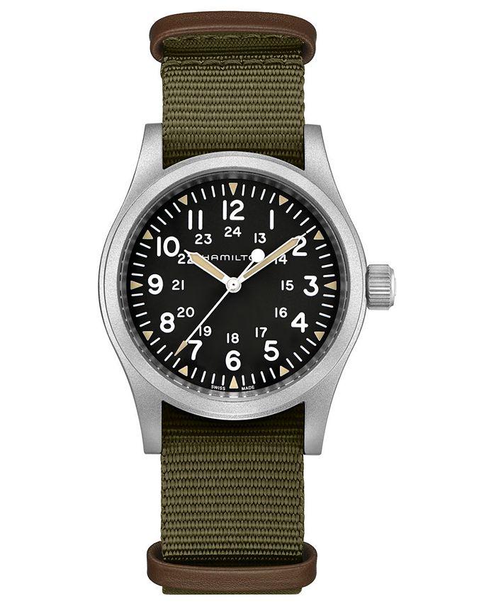 Hamilton - Unisex Swiss Mechanical Khaki Field Green Nato Fabric Strap Watch 38mm