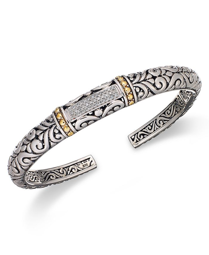 EFFY Collection - Diamond Swirl Bangle (1/6 ct. t.w.)  in 18k Gold and Sterling Silver