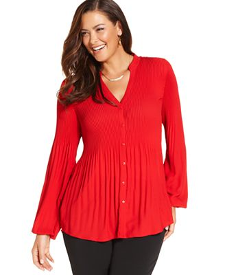 Red Plus Size Blouses 117
