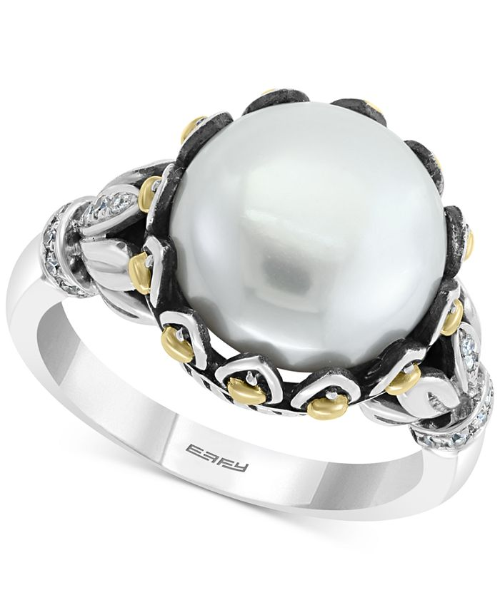 EFFY Collection - Cultured Freshwater Pearl (11mm) & Diiamond (1/10 ct. t.w.) Statement Ring in Sterling Silver & 18k Gold-Plate