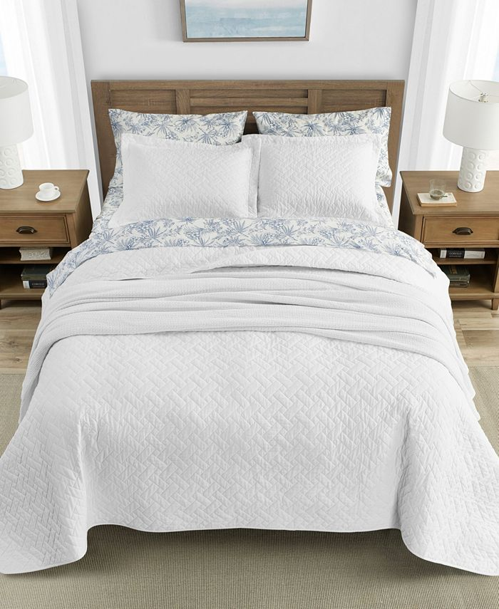 Tommy Bahama Home - Tommy Bahama Solid White Reversible 3-Piece Full/Queen Quilt Set