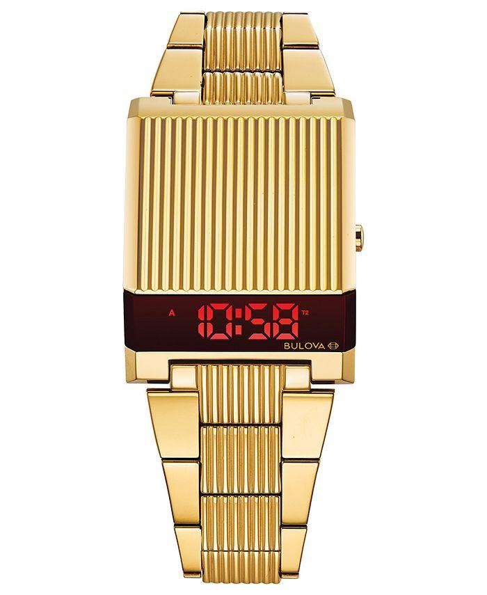 Bulova - Men's Digital Archive Computron Gold-Tone Stainless Steel Bracelet Watch 31.1x40.3mm